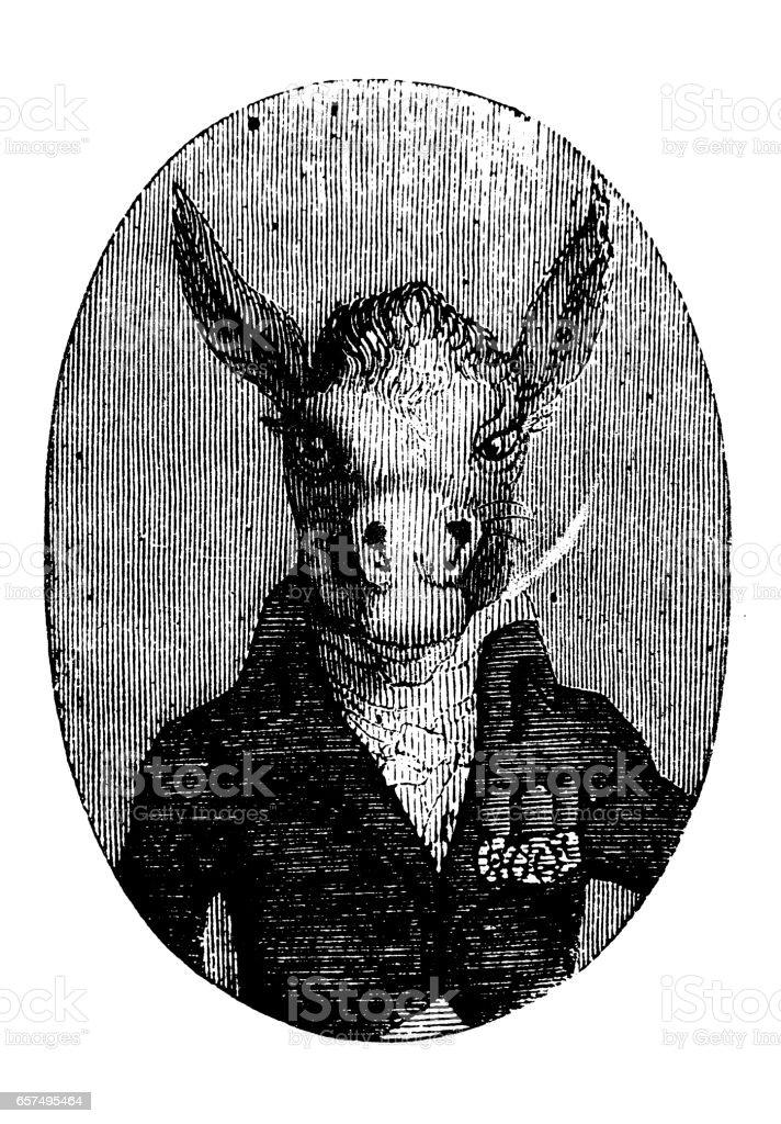Humanized animals illustrations: Portrait of donkey - illustrazione arte vettoriale