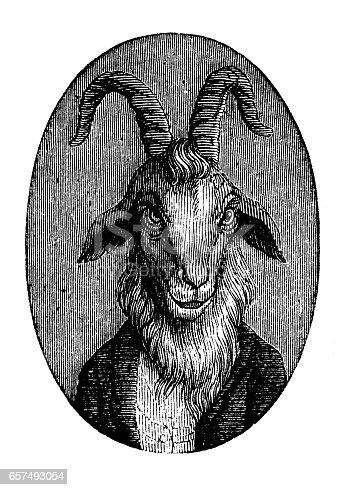 Humanized animals illustrations: Portrait of goat