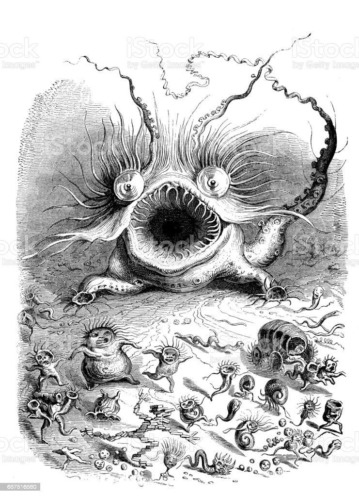Humanized animals illustrations: Scary monster vector art illustration