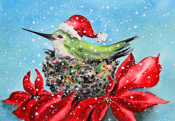 Hummingbird At Home For the Holidays vector art illustration