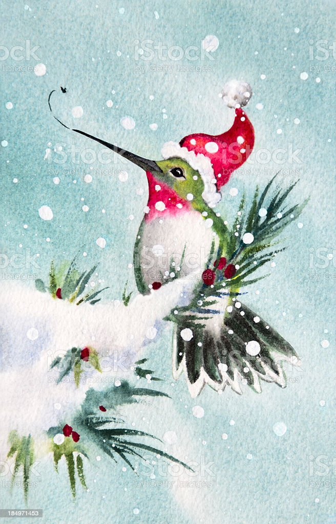 Hummingbird Comes Home For the Holidays vector art illustration