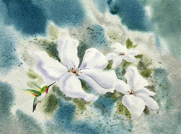 Hummingbird in the Garden vector art illustration
