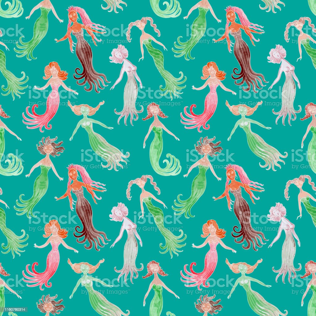 Humorous Mermaid Seamless Pattern On A Turquoise Background