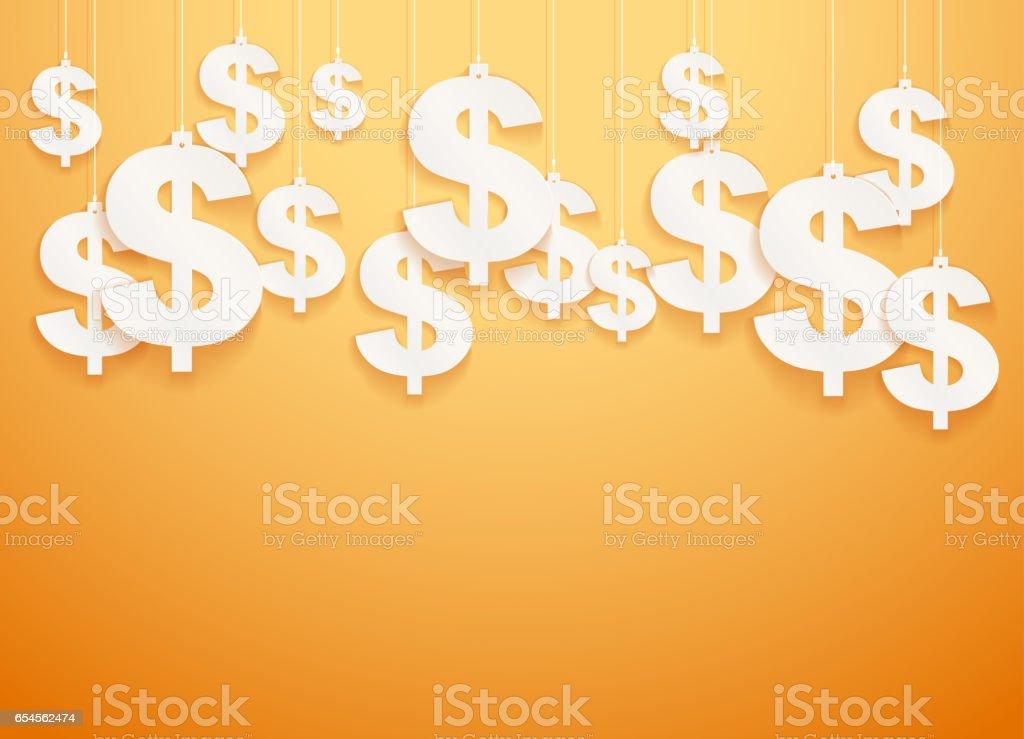 Hung symbols Dollar.  Illustration. vector art illustration