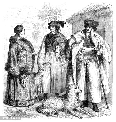 Hungaria people in traditional clothing in puszta 19th century Original edition from my own archives Source : Gartenlaube 1859 Graveur : W. Aarland - T. Knesing