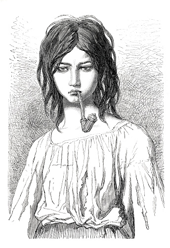 Hungarian tzigane young woman ( tzigane is a Hungarian Gypsy ( Romani person ). Original edition from my own archives Source : Tour du monde 1870 Drawing: A. Bertrand - Valerio