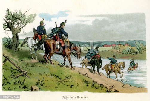 Vintage colour lithograph of soldiers from the Austro Hungarian Empire. Hungarian Hussars. 1887