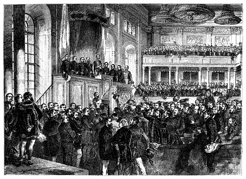 Hungarian Revolution of 1848 ,the opening ceremony of the first parliament (5 July 1848), which was based on popular representation. The members of the first responsible government are on the balcony.