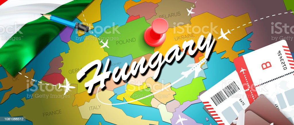 Hungary travel concept map background with planes, tickets. Visit...