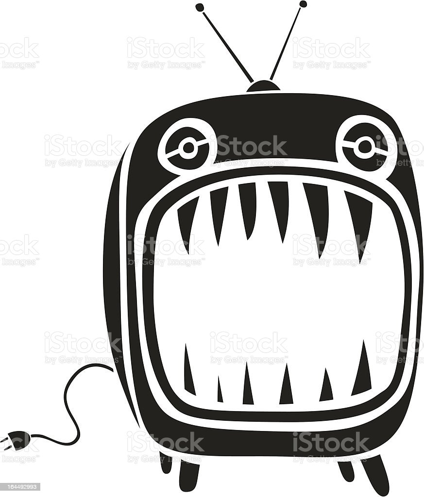Hungry TV Set vector art illustration