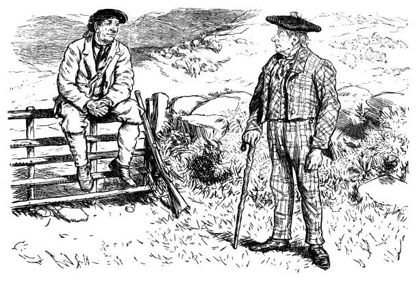 hunter and friend - old man standing drawings stock illustrations, clip art, cartoons, & icons