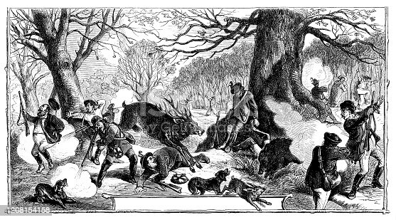 Illustration of a Hunters surprised by a deer