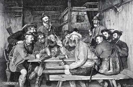 Hunters tell stories in the restaurant