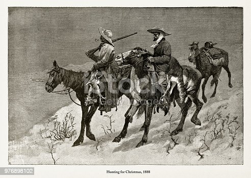 Beautifully Illustrated Antique Engraved Victorian Illustration of Early Americans Hunting for Christmas,Victorian Engraving, 1888. Source: Original edition from my own archives. Copyright has expired on this artwork. Digitally restored.