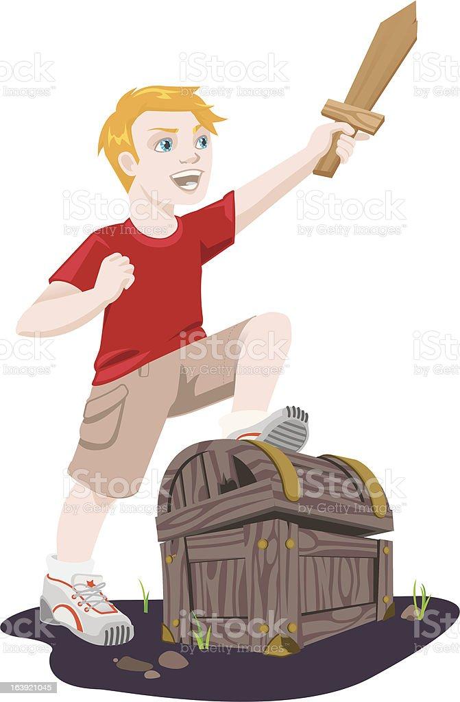 Hunting for Treasure vector art illustration