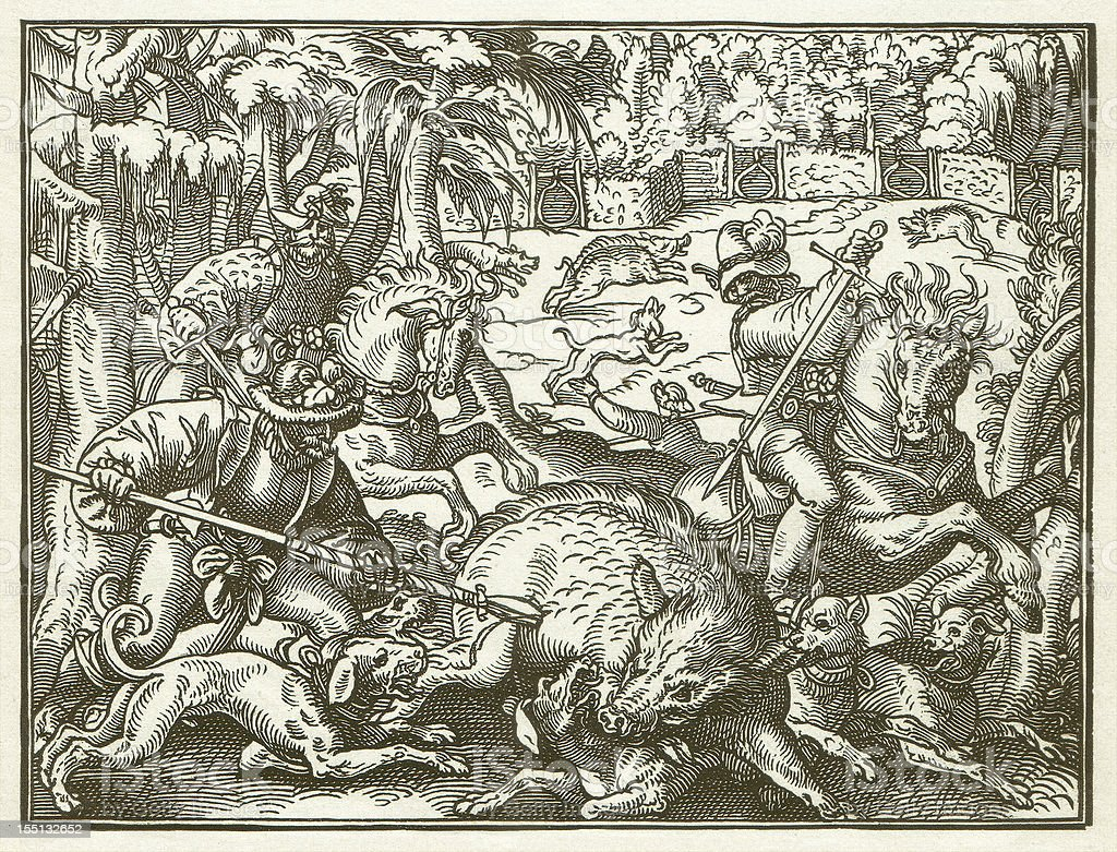Hunting in the 16th century - by Jost Amman vector art illustration