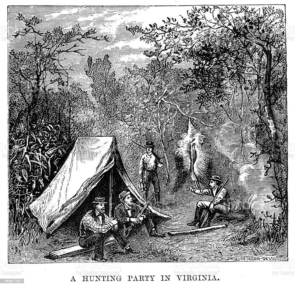 Hunting party in Virginia vector art illustration