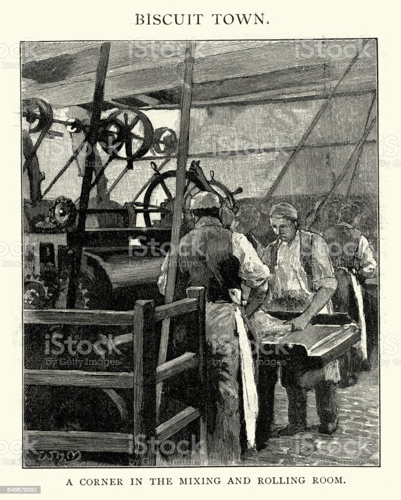 Huntley and Palmers biscuit factory, Reading, 1892 vector art illustration