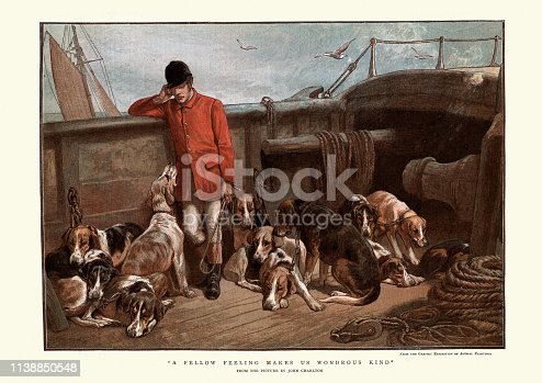 Vintage engraving of a Huntsman and his dogs traveling by boat, 1884, 19th Century. A fellow feeling makes us wondrous kind, after the painting by John Charlton