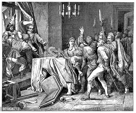 Illustration of a 'Hurl them from the Window!' ,jesuit Martinitz throwed out of the window
