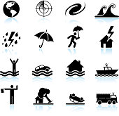 Hurricane and tropical storm black & white icon set
