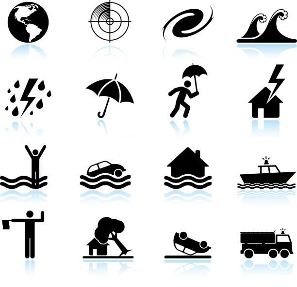 ураган и тропический шторм черный & белый вектор икона set - lightning stock illustrations