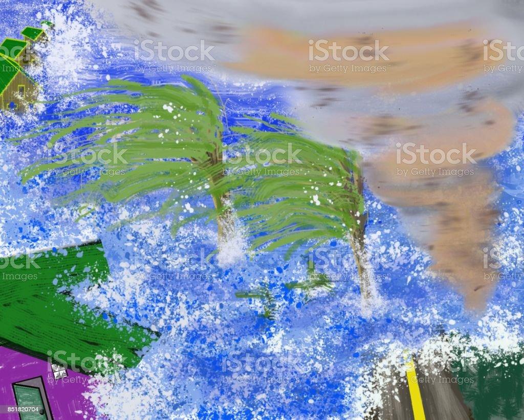 Hurricane vector art illustration