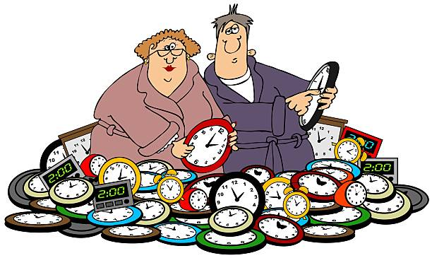 husband & wife setting clocks - daylight savings time stock illustrations, clip art, cartoons, & icons