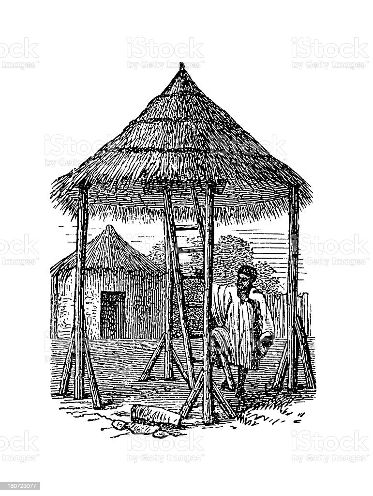 Hut in Niger, Africa (antique wood engraving) vector art illustration