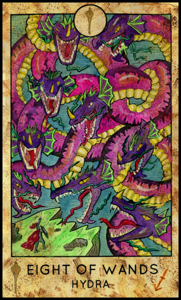 Hydra. Eight of wands Fantasy Creatures Tarot full deck. Minor arcana. Hand drawn graphic illustration, engraved colorful painting with occult symbols rymdraket stock illustrations