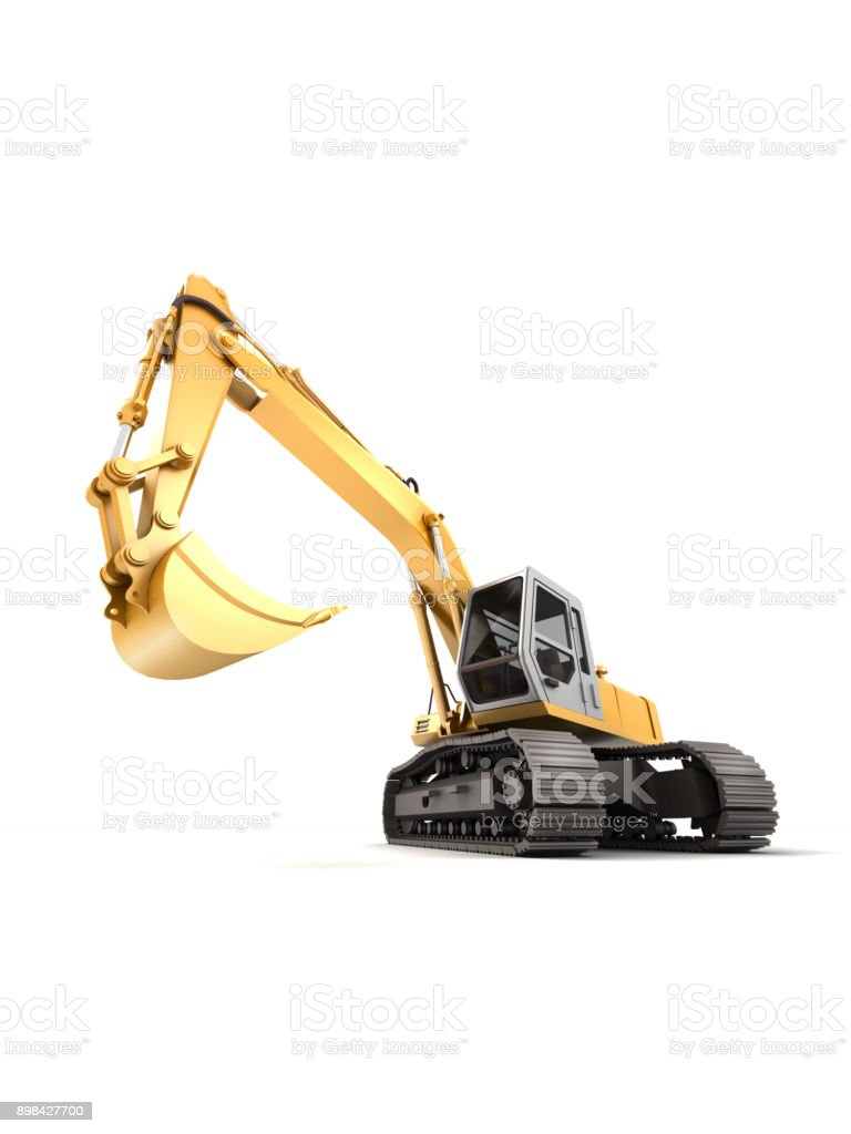 Hydraulic Excavator with bucket at foreground. 3d illustration. Front view. Wide angle. Isolated on white vector art illustration