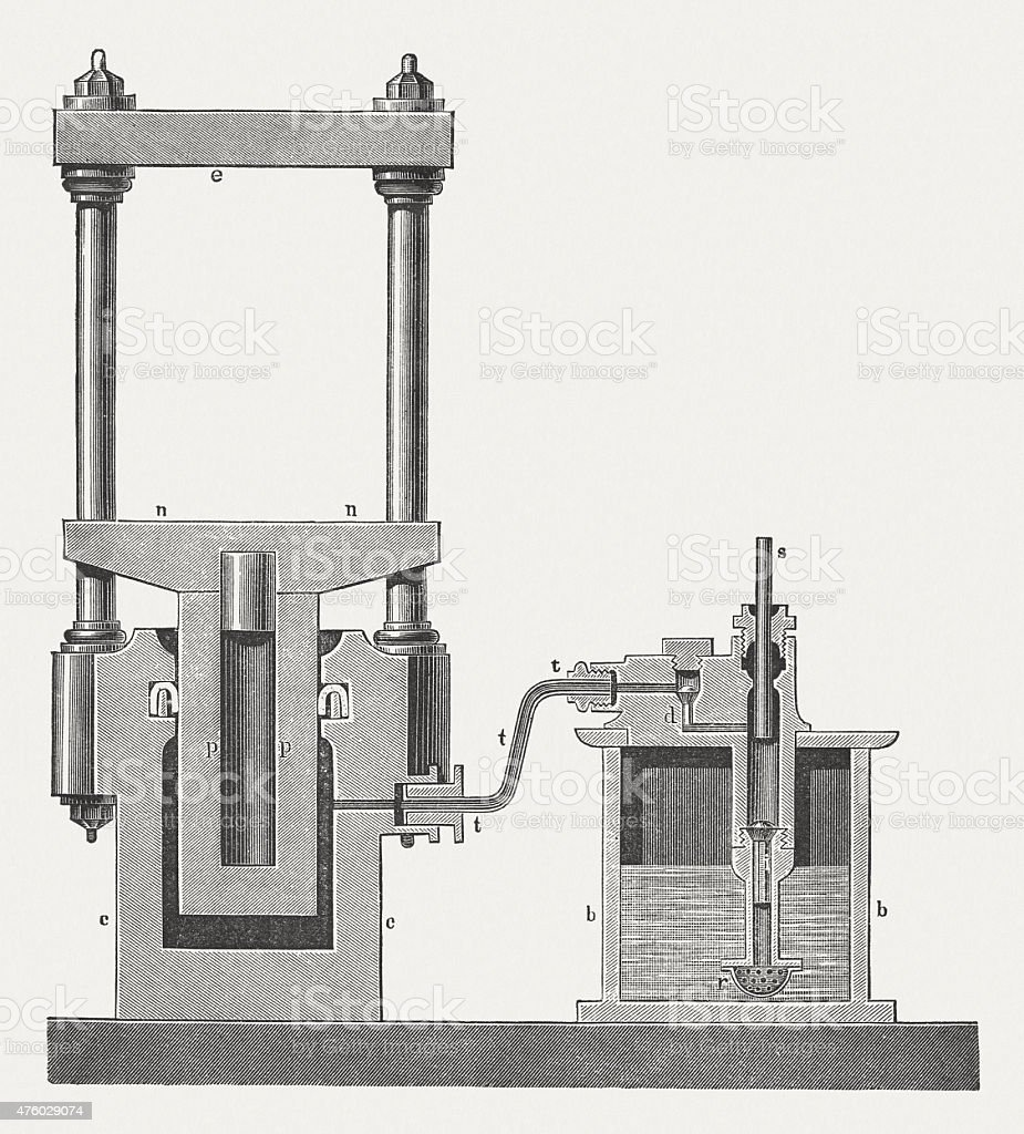 Hydraulic Press, wood engraving, published in 1876 vector art illustration
