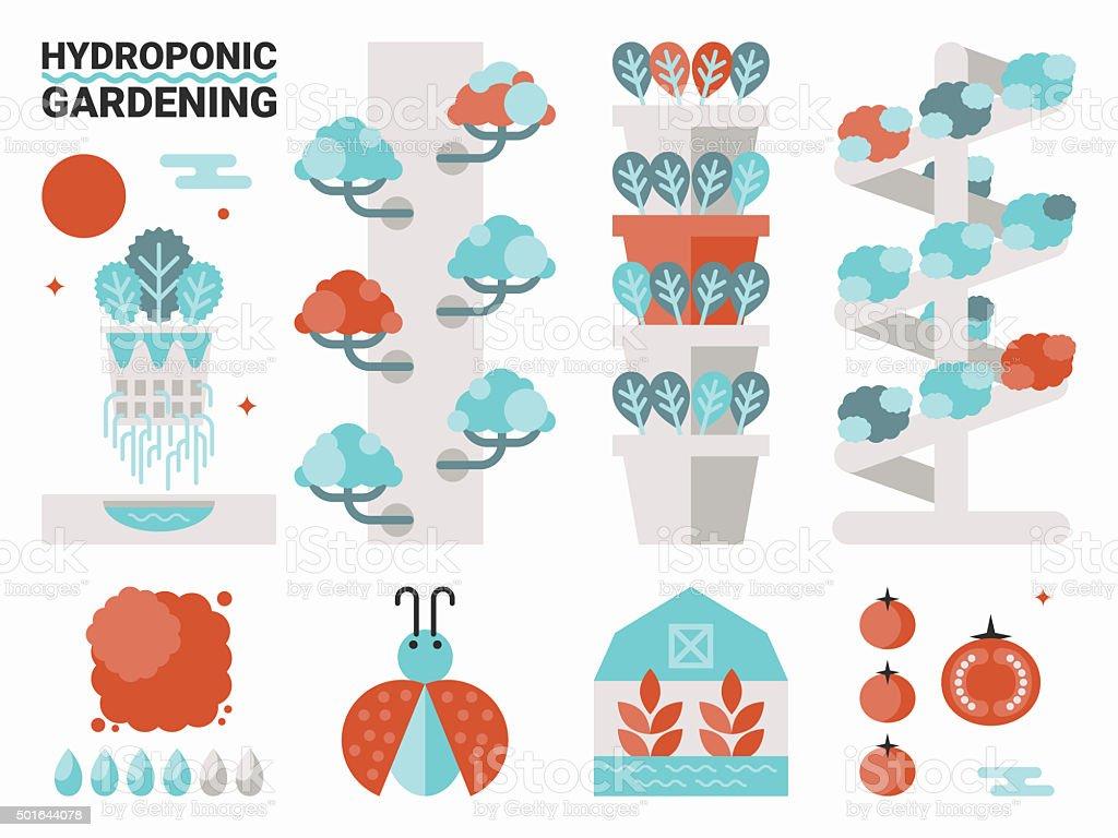 Hydroponic gardening vector art illustration