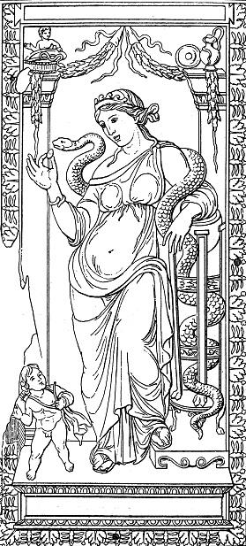 Hygieia or Hygeia, goddess of health and patron saint of pharmacists