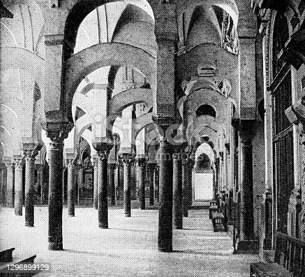 istock Hypostyle Hall at the Mosque–Cathedral of Córdoba in Córdoba, Spain - 19th Century 1296899129