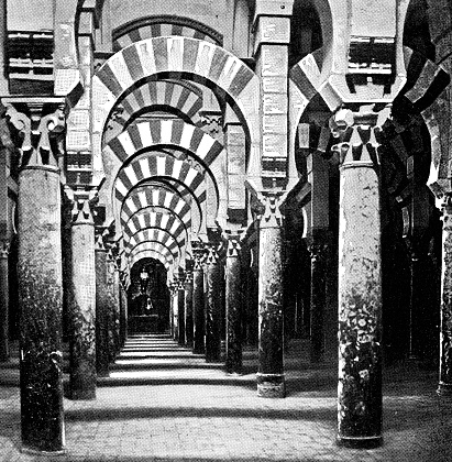 Hypostyle Hall at the Mosque–Cathedral of Córdoba in Córdoba, Spain - 19th Century