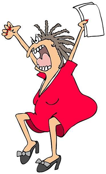 Hysterical woman vector art illustration