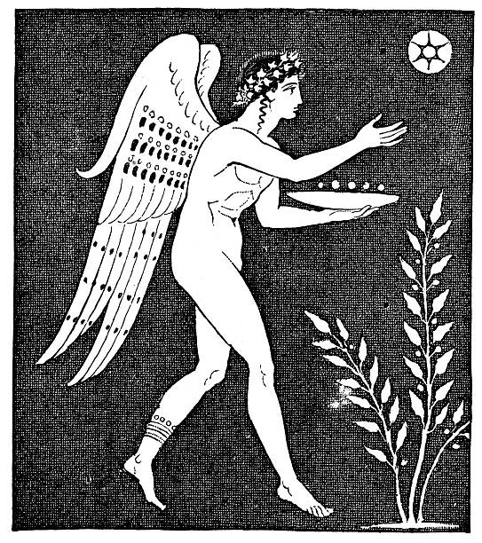 """Icarus """"Vintage engraving from 1879 of ancinet greek art showing Icarus. In Greek mythology, Icarus is the son of the master craftsman Daedalus. The main story told about Icarus is his attempt to escape from Crete by means of wings that his father constructed from feathers and wax. He ignored instructions not to fly too close to the sun, and the melting wax caused him to fall to his death."""" greco roman style stock illustrations"""