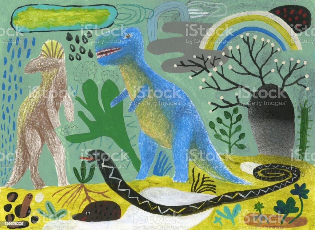 Ice age dinosaurs doodle vector art illustration