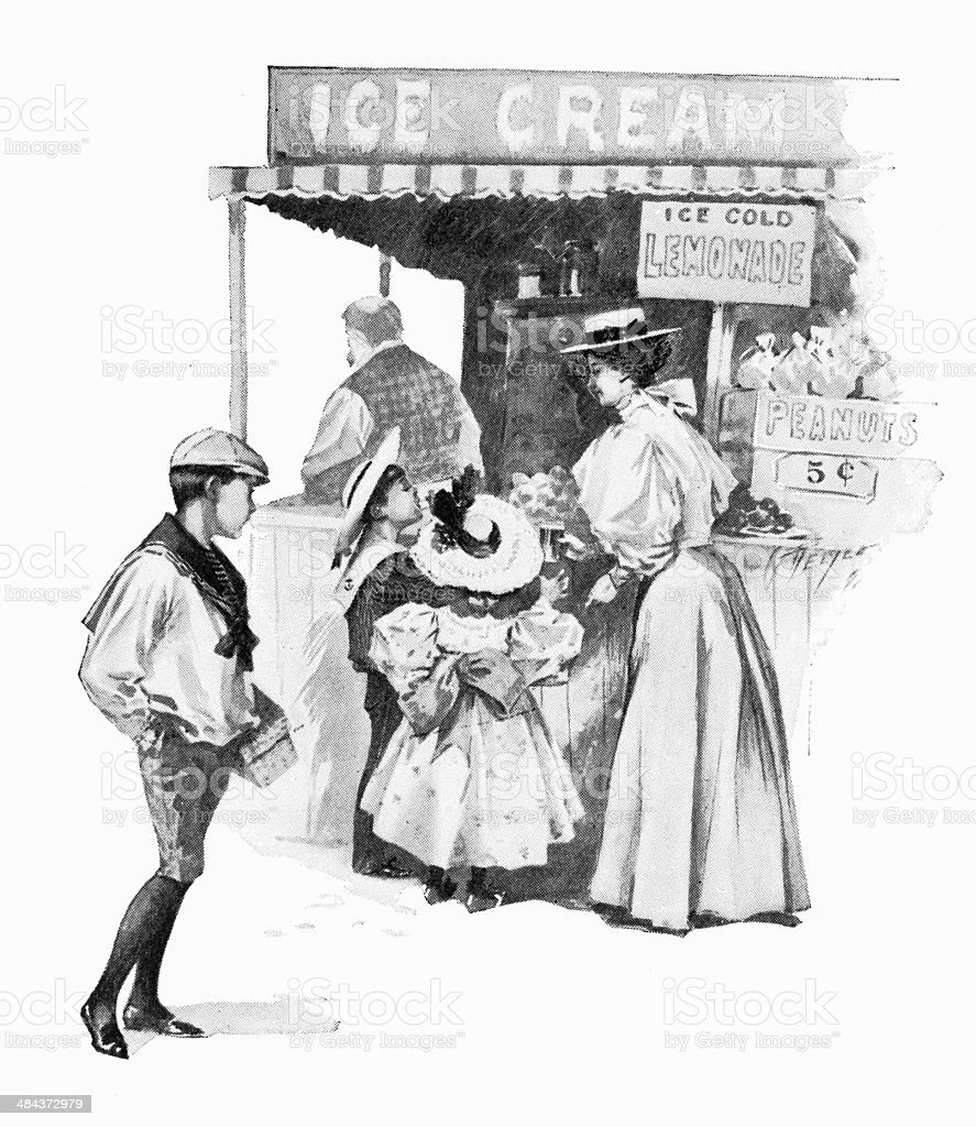 Ice cream At The Fair vector art illustration
