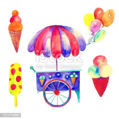 istock Ice cream cart 1211715007