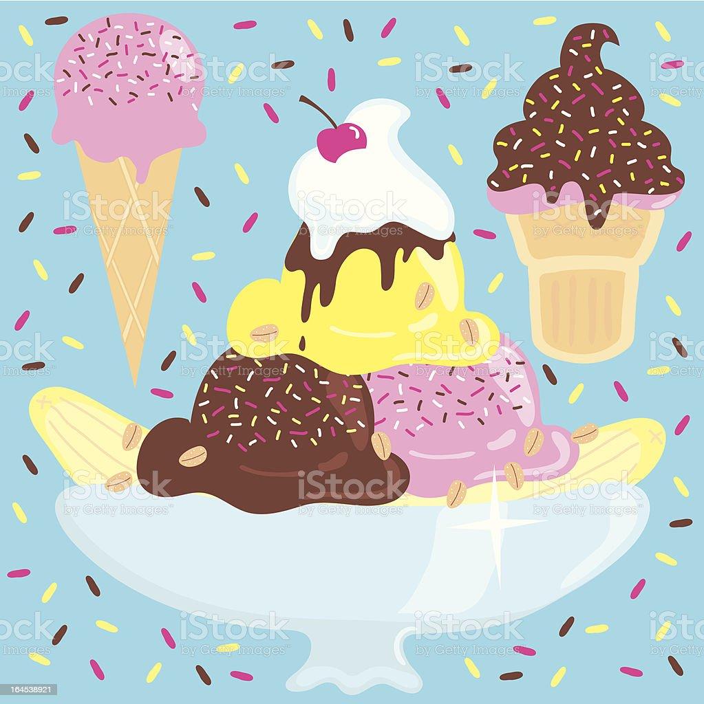 Ice Cream Sundae Party vector art illustration