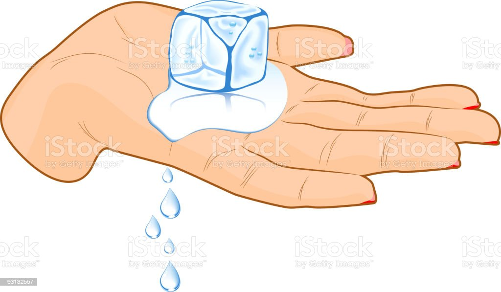 Ice cube in a hand. royalty-free stock vector art