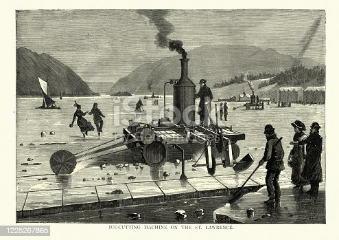 Vintage engraving of Ice cutting machine on the St Lawrence river, 19th Century