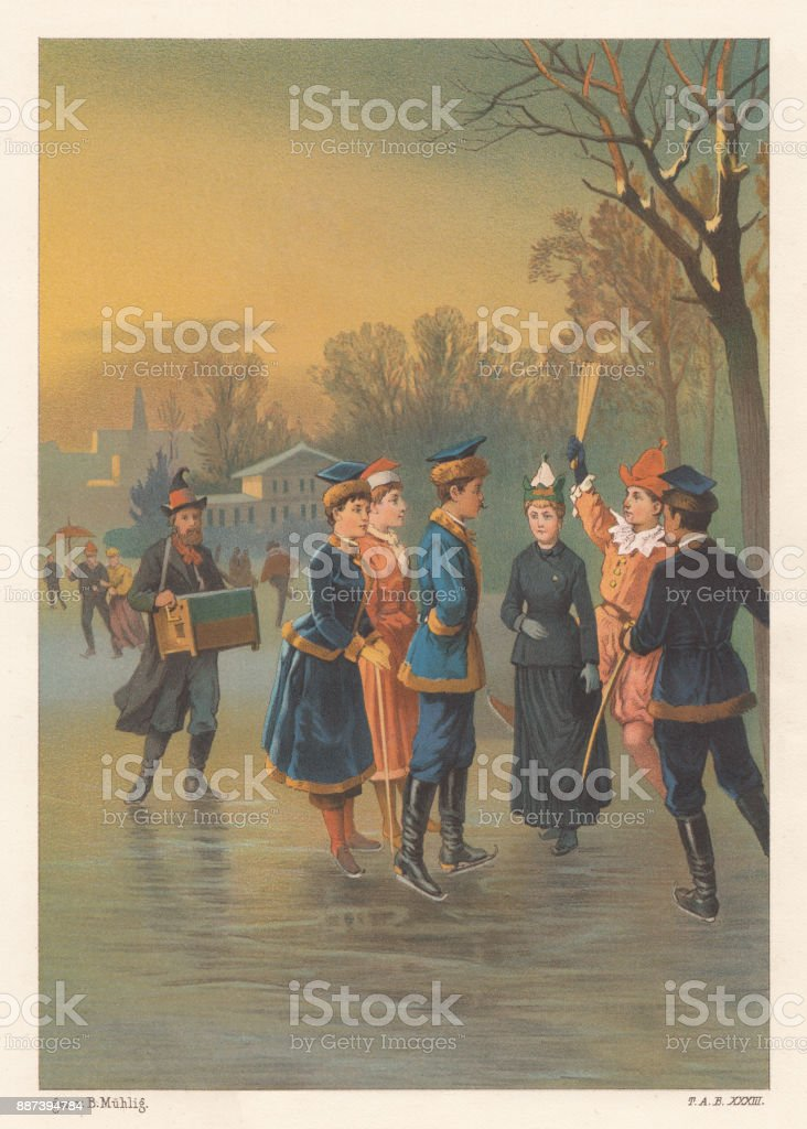 Ice festival, nostalgic scene from the past, lithograph, published 1887 vector art illustration