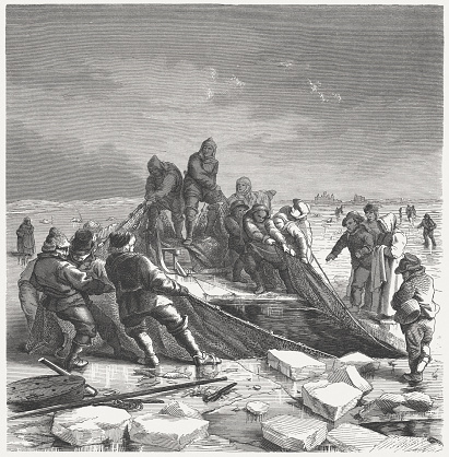 Ice fishing, 19th century, wood engraving, published in 1864