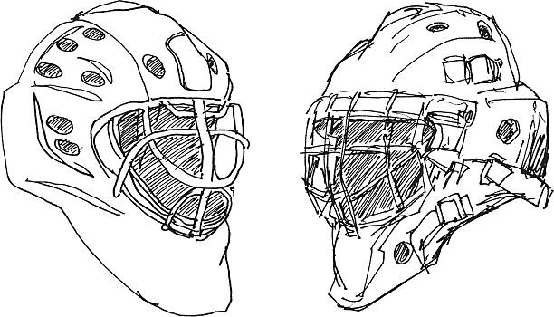 Ice Hockey Goalkeeper Helmet Sketch Hand-drawn vector sketch of two Ice Hockey Goalkeeper Helmets. Black-and-White sketch on a transparent background (.eps-file). Included files: EPS (v8) and Hi-Res JPG. winter sport stock illustrations