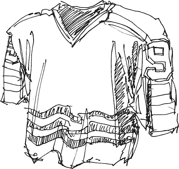 Ice Hockey Shirt Sketch Hand-drawn vector sketch of an Ice Hockey Shirt. Black-and-White sketch on a transparent background (.eps-file). Included files: EPS (v8) and Hi-Res JPG. winter sport stock illustrations