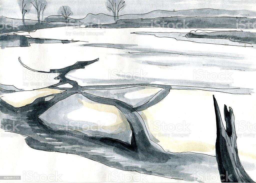 ice on the river etude vector art illustration