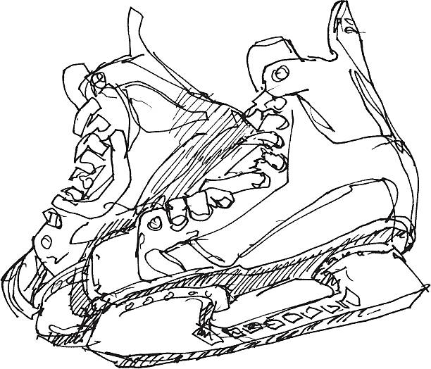 Ice Skates Sketch Hand-drawn vector sketch of Ice Skates. Black-and-White sketch on a transparent background (.eps-file). Included files: EPS (v8) and Hi-Res JPG. winter sport stock illustrations